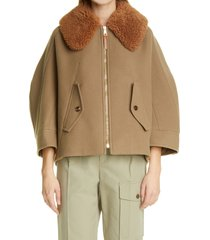 women's chloe wool blend coat with removable genuine shearling collar, size 4 us - brown