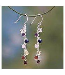 multi-gemstone chakra earrings, 'tranquility' (india)