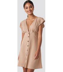 na-kd button up mini dress - beige