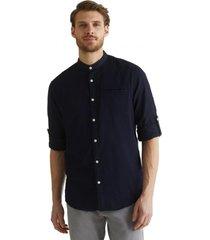 camisa con textura en 100% algodón ecológico azul marino esprit