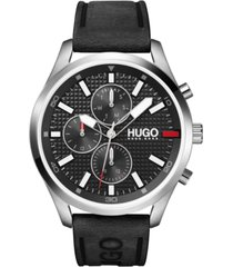 hugo men's #chase black leather strap watch 46mm