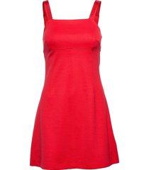 milano logo strap slip dress korte jurk rood calvin klein jeans