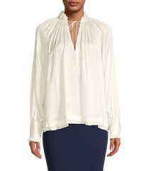 jonathan simkhai women's cupro tie-neck blouse - ecru - size xs