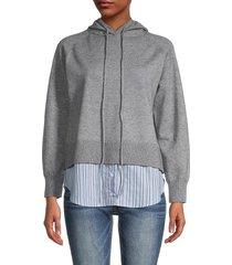 central park west women's 2-in-1 twofer hoodie & striped shirttail hem - heather grey - size xs