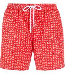 barba summer print swim shorts - red