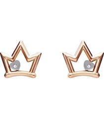 orecchini a lobo corona con strass in acciaio bicolore per donna