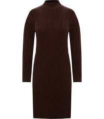 band collar wool dress
