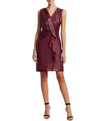 marsala leather ruffle front shift dress