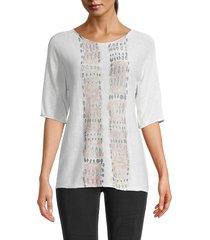 nic+zoe women's knit elbow-sleeve top - white multi - size xs