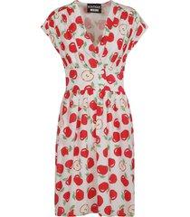 moschino apple printed v-neck dress