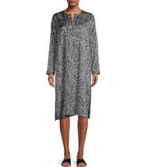 eileen fisher women's printed silk & cotton-blend dress - black ivory - size xxs