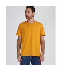 camiseta masculina manga curta básica gola careca amarelo claro