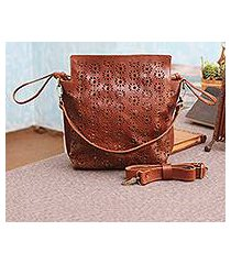 leather handbag, 'romantic flowers' (indonesia)