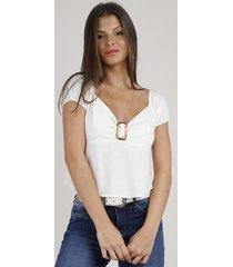 blusa feminina com linho e fivela manga curta decote v bege claro