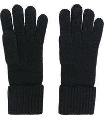 n.peal ribbed gloves - black