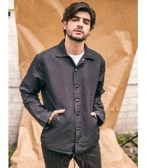 chaqueta pmp rompe vientos impermeable cuello camisero negro