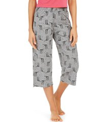 hue cotton temp tech cat-print capri pajama pants