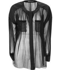 alberta ferretti black lightweight semi-sheer silk chiffon shirt