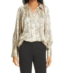 women's rebecca taylor scattered fleur long sleeve silk blouse, size large - beige