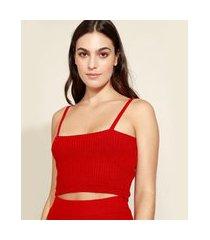top cropped de tricô feminino mindset alça fina decote reto vermelho