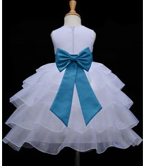 white organza flower girl dress pageant formal holiday wedding bridesmaid 308t