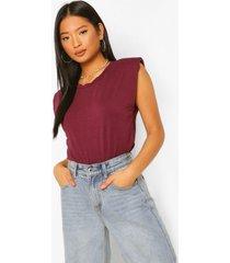 petite t-shirt met schouderpads, berry
