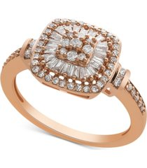 diamond vintage-inspired ring (1/2 ct. t.w.) in 14k white gold, yellow gold and rose gold