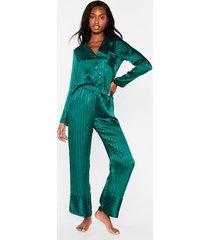 womens it's been a jacquard day satin pajama pants set - emerald