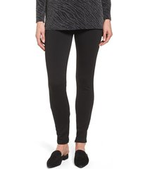 women's chaus zip ankle ponte knit leggings, size x-large - black
