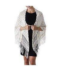 100% alpaca shawl, 'ivory hills' (peru)