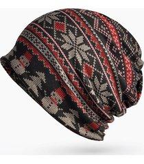 donna casual beanie con stampato a righe comodo antivento mutifunzionale sciarpa ad anello