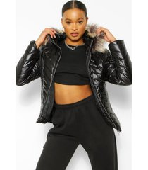 faux fur hood quilted puffer coat, black