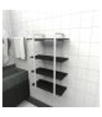 prateleira industrial banheiro aço cor branco 60x30x98cm (c)x(l)x(a) cor mdf preto modelo ind41pb