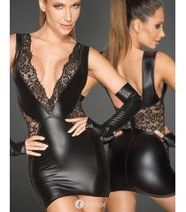 * noir handmade mini jurkje met diep decoletté