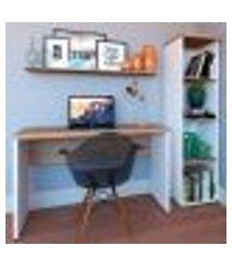 conjunto de mesa com estante e prateleira de escritório corp branco e carvalho mel