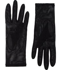 tender and dangerous logo-embroidered tulle gloves - black