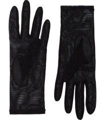 tender and dangerous logo-embroidered tulle gloves - black