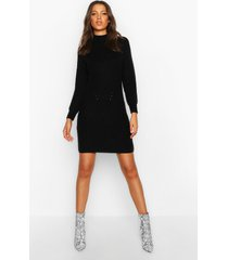tall ribbed knitted sweater dress, black
