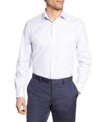 men's nordstrom men's shop traditional fit non-iron check dress shirt, size 15.5 - 34/35 - purple
