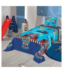 jogo de cama solteiro lepper patrulha canina 3 peças azul