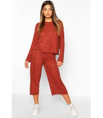 oversized long sleeve top cullotes co-ord, terracotta