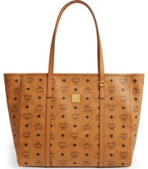 mcm medium toni visetos coated canvas east/west shopper - brown