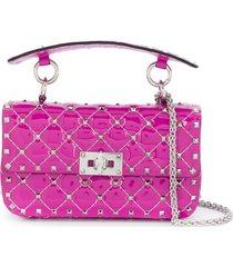 valentino garavani rockstud diamond-quilt tote bag - pink