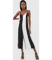 macacã£o dress to pantacourt color block preto/off-white - preto - feminino - viscose - dafiti