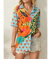 camicetta casual da donna con bottoni a maniche corte con risvolto stampato a pois