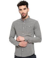 camisa d/struct long sleeve dogtooth flannel gris - calce regular