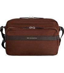 want les essentiels logo print zip-up shoulder bag - brown