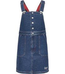 crossback dungaree dress pmmbrg korte jurk blauw tommy jeans