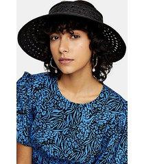 black straw weave visor hat - black