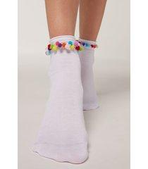 calzedonia appliqué ankle socks woman white size tu